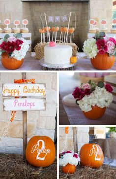 Pumpkin Fall Party Collection - Birthday Party Ideas for Kids Toddler Birthday Themes, 2nd Birthday Party For Girl, Birthday Party Treats, Carnival Birthday Parties, Birthday Ideas, September Birthday Parties, Fall 1st Birthdays, Pumpkin 1st Birthdays, Thanksgiving Birthday Parties