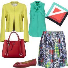 in Primavera il Foulard geometrico  outfit donna Bon Ton per tutti i  giorni  7086419f602