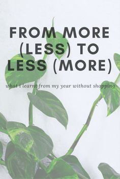 From More (Less) to Less (More) - OneSmallWonder