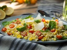 Orzo Salad with Corn, Arugula and Cherry Tomatoes as seen on Dinner at Tiffani's.  Love this show!!