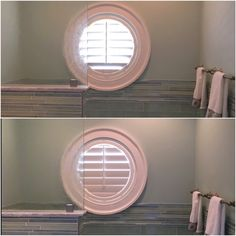 ASAP Blinds | Specialty-shaped white plantation shutters on this portal bathroom window, shown with louvers open & closed.