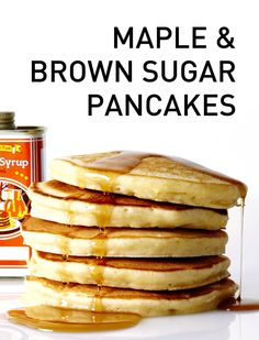 Fluffy and delicious Maple and Brown Sugar Pancakes recipe #BiteMeMore #pancakes #brunch