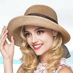 Kekolin Womens Straw Hat Floppy Foldable Roll up Beach Cap Sun Hat Summer  Hats For Women 20fb57e7ba57