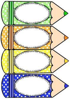Risultati immagini per distintivos escolares de lapiz Classroom Labels, Classroom Rules, Classroom Design, Classroom Decor, Class Decoration, School Decorations, School Border, Page Borders Design, School Frame