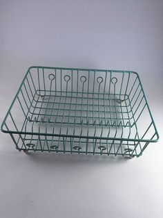 High Quality Vintage Turquoise Aqua Dish Drainer Retro Rubber Coated Metal Dish Rack  1950 Kitchen Storage Organizer By