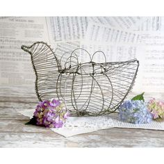 Vintage Wire Bird Egg Basket, Wire Bird Basket, Country Kitchen Decor,... ($25) ❤ liked on Polyvore featuring home, home decor, easter home decor, wire home decor and bird home decor