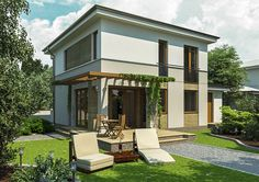 These small two story house plans open the interiors to the outdoor area on all levels, maximizing interaction with nature. Veranda Design, Terrace Design, 2 Storey House Design, Small House Design, Modern House Plans, Small House Plans, Double Storey House Plans, Bungalow Haus Design, Front Porch Design