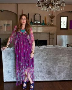 Corey Lynn Calter in Zandra Rhodes The Most Interesting Couple In L. Shows Off Their Art-Filled Abode! Hippie Style, Bohemian Style, My Style, Fashion Room, Boho Fashion, Zandra Rhodes, Marc Jacobs Shoes, Up House, British Style