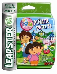 Leapster Arcade: Dora the Explorer by LeapFrog. $16.89. From the Manufacturer                Join Dora, Diego and Boots at the carnival for a pinata party! Burst the pinatas while identifying letters, matching letters to their sounds and spelling words! To earn prizes collect the big star stickers that fall out of the pinatas.     What it Teaches:  * Upper Case Letters  * Lower Case Letters  * Phonics  * Word Building                                    Product ...