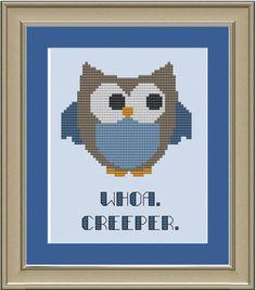 Whoa. Creeper: Funny owl cross-stitch by nerdylittlestitcher
