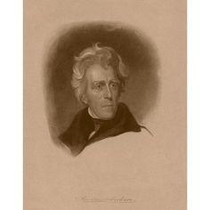 Digitally restored American history portrait of President Andrew Jackson Canvas Art - John ParrotStocktrek Images (25 x 32)