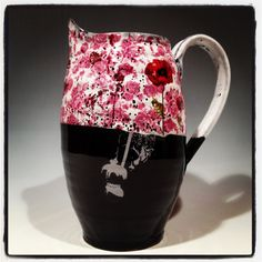 Poppy pitcher with glossy layered glaze and custom decal work