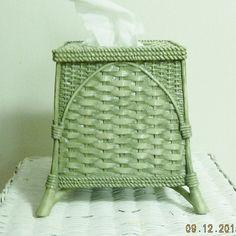 Vintage Ceramic Pedestal Tissue Holder Green by APurpleClover