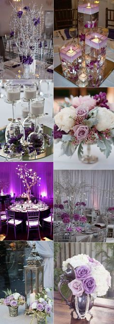 Shades Of Purple Wedding Reception stunning wedding color ideas in shades of purple and silver silver wedding decorations Silver Wedding Decorations, Purple Wedding Centerpieces, Silver Centerpiece, Wedding Themes, Centerpiece Ideas, Table Centerpieces, Silver Weddings, Purple Wedding Receptions, Purple Birthday Decorations