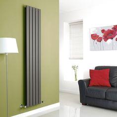 Milano Alpha - Anthracite Vertical Double Slim Panel Designer Radiator 1780mm x 350mm - Weekly Deals