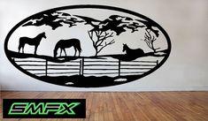 Sticker cheval grande scène métal ovale 15 par SCHROCKMETALFX
