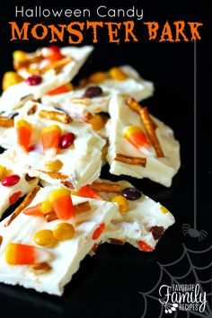 This Halloween Candy Monster Bark is a super easy and yummy treat! This is really fun to make with your kids!