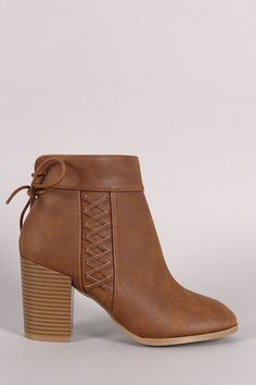 Qupid Back Lace Up Stitched Chunky Heeled Booties. Qupid Back Lace Up Stitched Chunky Heeled Booties