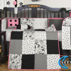 The patchwork quilt features blocks of stripes, polka dots and a fanciful daisy pattern edged in pink. A black and white checked crib skirt has pink piping at the hemline, as does the tab-top window valance. Decorative pillows, a darling black lamp with polka dotted shade plus a trio of whimsical wall hangings with pink bows are almost as precious as the captivating crib mobile. Pink dots and black daisies twirl gently, suspended under a ruffled canopy, #timelesstreasure