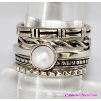 Silpada Artisan Jewelry Size 8 Etched 925 Sterling Silver Pearl..