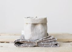 Gift Set Linen Towel with Eco Friendly Linen Basket by BoHelina