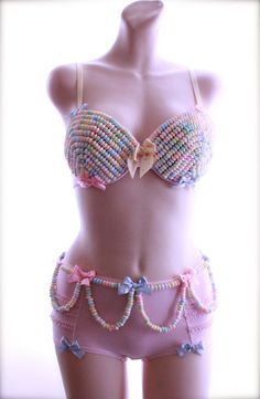 34D 32D Candyland Candy Bra and Panty with Polka Dots and Bows - Burlesque Budoir Lingerie EDC Rave Costume. $140.00, via Etsy.