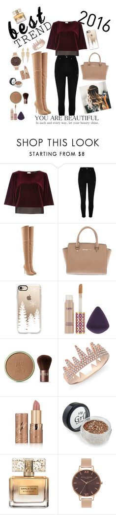 """Untitled #5"" by silviamachado20 ❤ liked on Polyvore featuring River Island, Balmain, Michael Kors, Casetify, tarte, Pixi, Anne Sisteron, Givenchy, Olivia Burton and Stephen Webster"