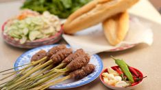 These Vietnamese beef and pork skewers are shaped around stalks of lemongrass and cooked on a chargrill, which releases a smoky aroma that flavours the meat beautifully.