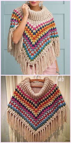 New Absolutely Free Crochet cowl poncho Tips Cowl Neck Poncho Crochet Pattern for Ladies Crochet Poncho Patterns, Crochet Motifs, Knitted Poncho, Crochet Scarves, Crochet Shawl, Knitting Patterns Free, Knit Crochet, Crochet Wraps, Scarf Patterns