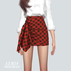 Tied Wrap Skirt Check version_ tie wrap skirt check version _ women's costume - SIMS4 marigold