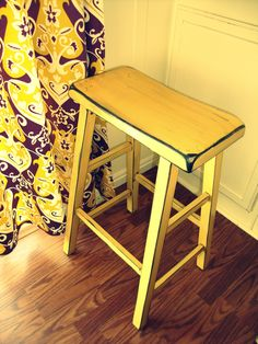 Lumbar Support For Office Chair Shades Of Yellow, Yellow And Brown, Mellow Yellow, Painted Stools, Wooden Stools, Furniture Makeover, Home Furniture, Yellow Cottage, Palette