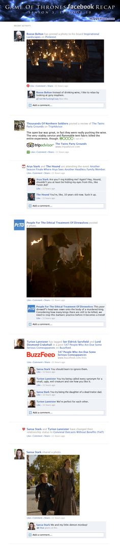 If Game Of Thrones took place entirely on Facebook: Season 3 Finale.