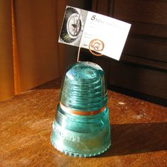 Blue/Green Glass Insulator Photo/Card Holder
