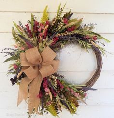 Fall Thanksgiving Deco Mesh Front Door Wreath - Orange Brown Burlap Wreath for Fall Wreaths For Front Door, Door Wreaths, Grapevine Wreath, Etsy Wreaths, Ribbon Wreaths, Floral Wreaths, Front Doors, Wreath Stand, Primitive Wreath