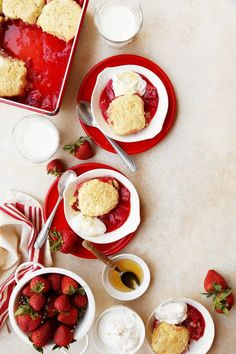 Strawberry Rhubarb Cobbler with Cornmeal Biscuits and Honeyed Cream
