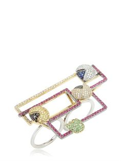 FEDERICO PRIMICERI - LEVEL 256 COLLECTION RING - One of a kind piece, crafted exclusively for Luisa Via Roma in 18kt Yellow gold, 18kt White gold  with  Brilliant-cut white diamonds , Rubies,  Black diamonds , Yellow sapphires , Blue sapphires , Tsavorite Total number of stones: 316