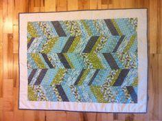 Herringbone Modern Baby Quilt by awmitch on Etsy