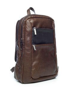 Mochila masculina slim couro legítimo Vira Vento cedro - Enluaze Loja Virtual   Bolsas, mochilas e pastas