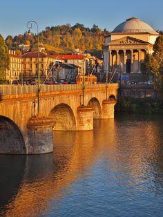 Turin. Sun set over the 'Gran Madre di Dio'