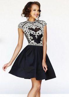 Turtle Neck Black Silver Beading Top Short Cutout Back Prom Dress