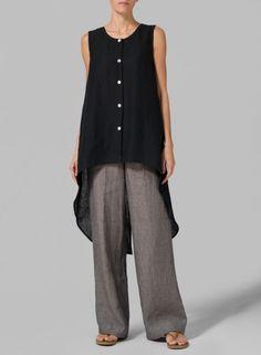 PLUS Clothing - Linen Hi-lo Long Vest