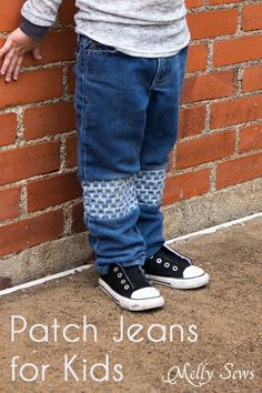 How to Patch Jeans - An easier way to mend knees with holes - MellySews.com