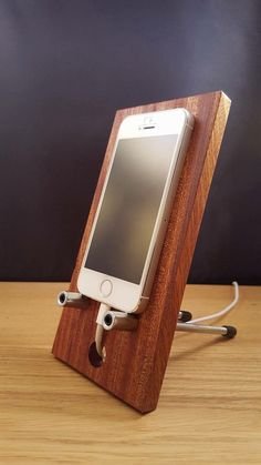 Items similar to Stylish Mobile phone holder, stand, dock made from solid Sapele hardwood finished with natural wax. on Etsy