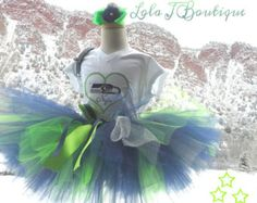 Seattle Tutu SET - NFL Collection - ALL Children Sizes - Hair Clip Custom Girls Neon Green Navy Silver Football Infant Toddler 2 3 4 5 6 7 8