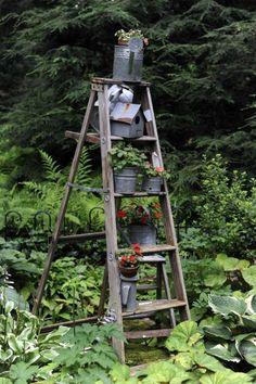 42 Best Ladder Garden Ideas For Your Backyard Best Ladder, Old Ladder, Vintage Ladder, Backyard Garden Design, Garden Art, Garden Junk, Garden Planters, Herb Garden, Garden Benches