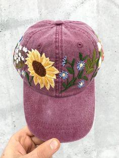 Hand Embroidered Hat   Custom Embroidered Hat   Floral Embroidered Hat   Embroidered  Baseball Caps   Burgundy Cap   Flower Hat   Sunflower 728edb4f30fb