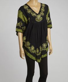 Love this Black & Green Floral Embroidered Cape-Sleeve Tunic by SR Fashions on #zulily! #zulilyfinds