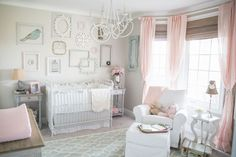 Vintage Baby Girl Nursery with Modern Accents - just LOVE the gray, pink and robin's egg blue color scheme!