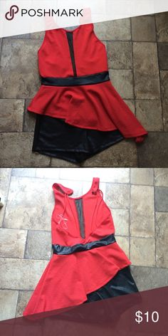 One Piece Dance Costume! Never been used Red and Black with a sheer strip in the middle and black shorts underneath Other