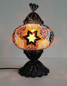 Golden Star Design Turkish Mosaic Lamp with hand crafted copper base - Sophie's Bazaar - 1